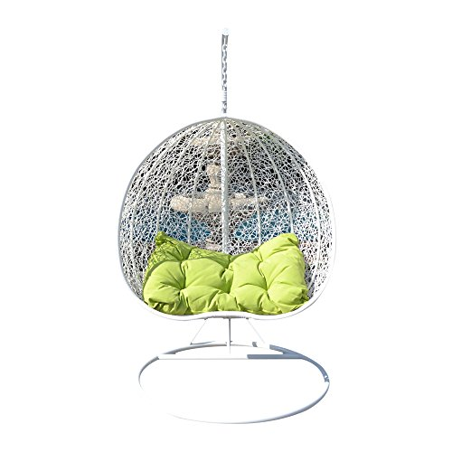 Egg Nest Shaped Wicker Rattan Swing Chair Hanging Hammock 2 Persons Seater - White / Lime (Rattan Swings)