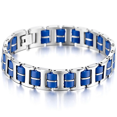 MOWOM Silver Tone Blue Stainless Steel Rubber Bracelet Link Wrist I -