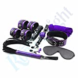 Corcrest(TM) ( 9 Pcs/ Set ) Boutique Soft Velet Room Fun S e x Game Wrist and Ankle Cuffs Blindfold Ball Gag Kit S e x Toy for Couple