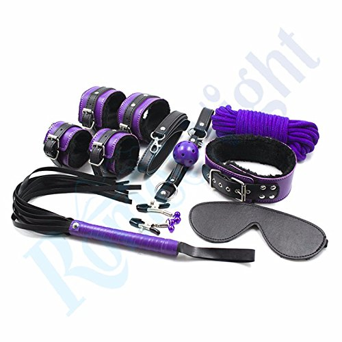 SlimArmor(TM) ( 9 Pcs/ Set ) Boutique Soft Velet Room Fun S-e-x Game Wrist and Ankle Cuffs Blindfold Ball Gag Kit S-e-x T-o-y for Couple by SlimArmor