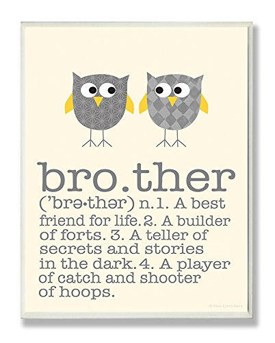 Stupell Home Décor Definition Of Brother With Two Grey Owls Rectangle Wall Plaque,