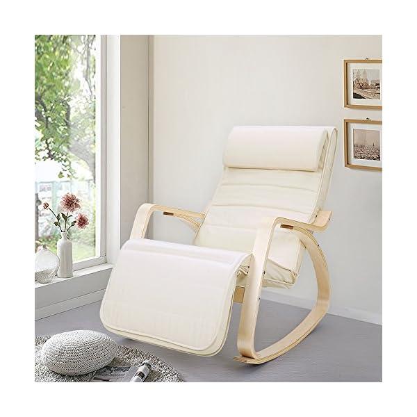 SONGMICS Fauteuil à bascule en bois de bouleau, Chaise berçante avec repose-pied réglable sur 5 hauteurs, housse en coton, capacité de charge 150 kg, pour salon, chambre, Beige LYY10M