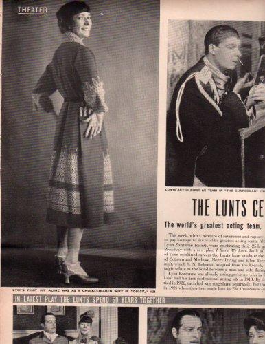 Lunt Memory - Alfred Lunt Lynn Fontanne Clipping Magazine photo orig 8x10 4pg N476