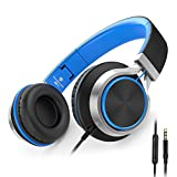 AILIHEN C8 Headphones with Microphone and Volume Control Folding Lightweight Headset for Cellphones Tablets Smartphones Laptop Computer PC Mp3/4(Black/Blue)