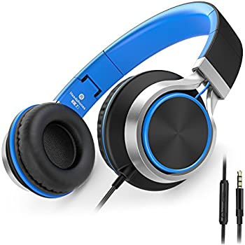 AILIHEN C8 Headphones with Microphone and Volume Control for Kids Adults iPhone iPad iPod Tablets Android Smartphones Laptop Computer Mp3/4 (Black/Blue)