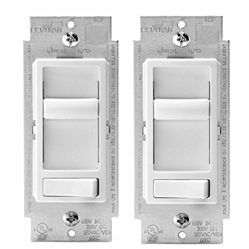 Leviton 6674-P0W SureSlide Universal 150-Watt LED and CFL/600-Watt Incandescent Dimmer, White (2 Pack)