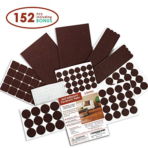 Gray Sheet Rubber (Seddox PREMIUM Felt Furniture Pads Set - 152 pieces Including Bonus Rubber Bumper Pads - Self Stick Extra Adhesive Hardwood Floor Protectors, Felt Pads for Furniture Feet Brown)