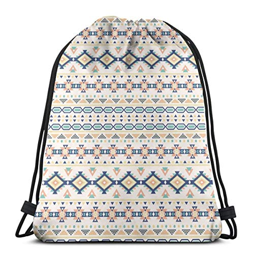 2019 Funny Printed Drawstring Backpacks Bags,Ancient Spiritual Native Culture Elements In Ethnic Motifs Artistic Pattern Image,Adjustable String Closure