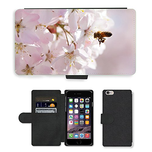 """Just Phone Cases PU Leather Flip Custodia Protettiva Case Cover per // M00128732 Animaux Bee Cherry Blossom Close-Up // Apple iPhone 6 PLUS 5.5"""""""