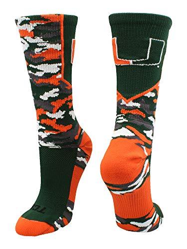 - TCK Sports Miami Hurricanes Woodland Camo Crew Socks (Green/Orange/White, Large)