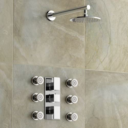 Oculta cromado cuarto de baño columna de ducha termostática con ...