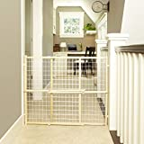 """""""Extra-Wide Wire Mesh Gate"""" by North States: Installs in extra-wide openings in seconds, without damaging walls. Pressure mount. Fits openings 29.5"""" to 50"""" wide (32"""" tall, Natural wood)"""