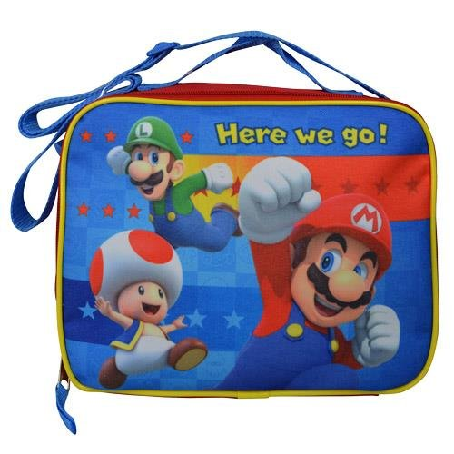 Nintendo Mario, Luigi, and Toad Rectangle Lunch Bag with Strap Kit ()