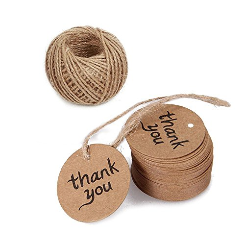 Kraft String Tie Printed (Thank You Tags,Gift Wrap Tags,100 Pcs Kraft Paper Tags with String, Vintage Wedding Favor Tags with 100 Feet Jute Twine)