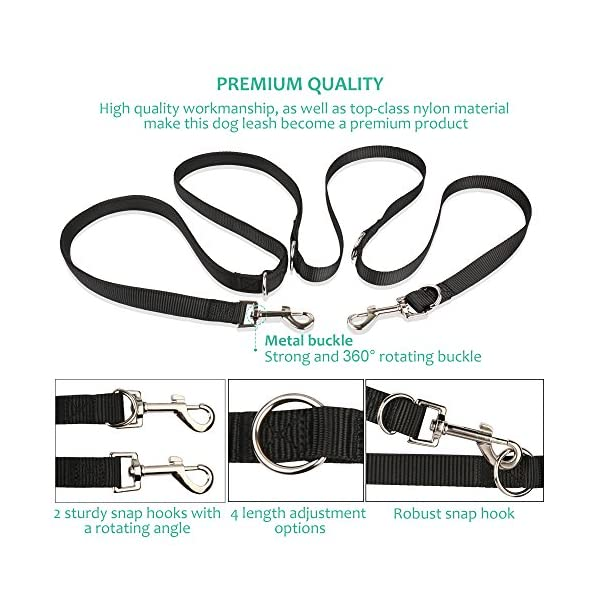 oneisall Hands Free Dog Leash,Multifunctional Dog Training Leads,8ft Nylon Double Leash for Puppy,Small & Large Dogs 3