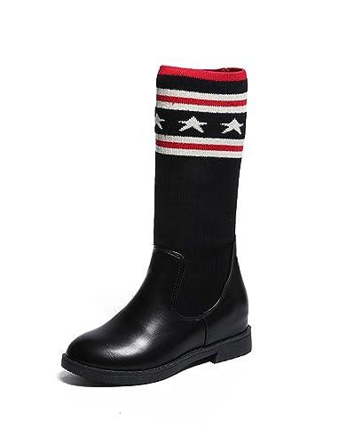 ffdaa9325bb0 Minetom Femmes Bottes Hautes Longue Au Dessus du Genou Élégant Couture  Chaussettes en Tricot Élastique Chaussures ...