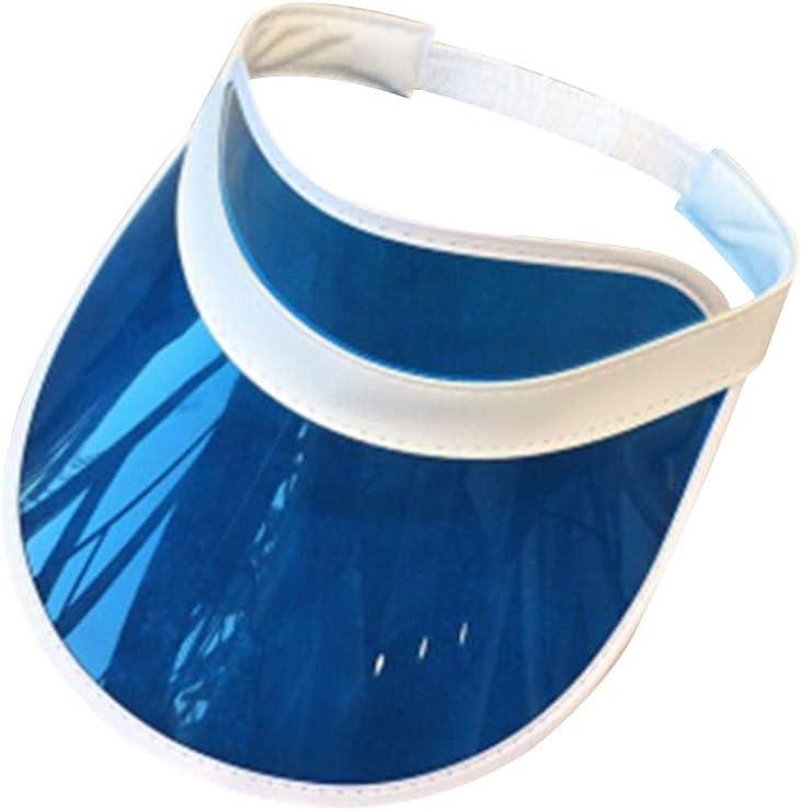 osfanersty Mujeres Hombres PVC Transparente Sombrero De Plástico Sombrilla Congelado Dulce Color De Caramelo Vacío Abierto Arriba Deportes Playa Visera Cap Cap Correa Volver