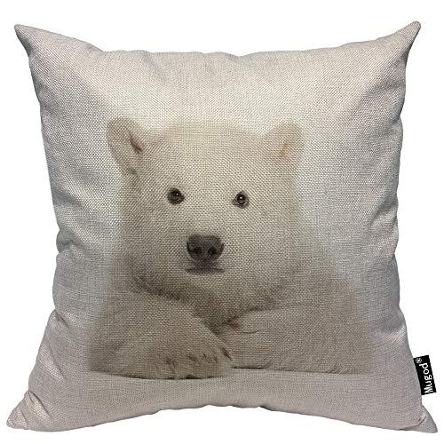 Mugod Bear Pillowcase Polar Bear Cub Ursus Maritimus Lying White Furry Wild Animal 18