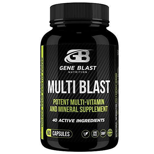 Gene Blast Multivitamins and Minerals for Men and Women w/40 Active Vitamins, Minerals, Herbs & Amino Acids to Optimise…