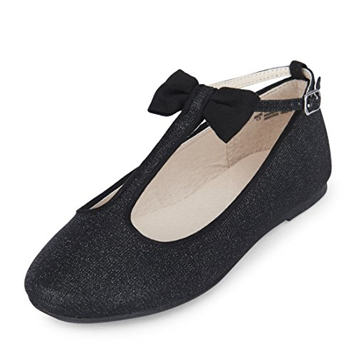 Girls' T-Strap Dressy Flat Ballet, Black 3, Youth 1 M US Little Kid ()