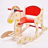 Baby Wooden Rocking Horse Infant Educational Toy Rocking Horse 1-5 Year Old Child Rocker Toddler Chair Kid Boys And Girl Cartoon Stool Toy Small Bench Gift