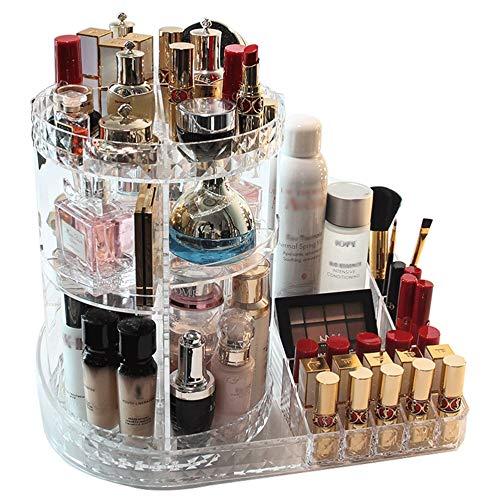 Dseap Makeup Storage: 360 Rotating Adjustable Bathroom Makeup Organizer Countertop, Vanity Organizer, Make up Holder Shelf Caddy for Cosmetics Skincare, Clear ()