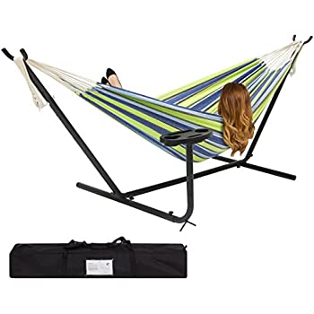 best choice products double hammock and steel stand w  cup holder accessory tray and carrying amazon     best choice products double hammock and steel stand w      rh   amazon