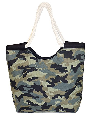 Camo Canvas Tote Bag (High Quality - Zippered, Rope Handle, Large Roomy Canvas Tote Beach Bag-Camouflage Prints)