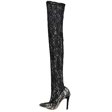 1869b173ec7 Amazon.com | Women's Rihanna Sexy Black Lace Pumps Stiletto Fishnet ...