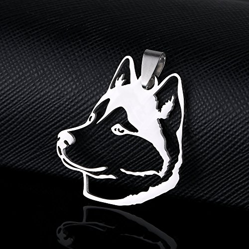Huskies Huskie Head - Stainless Steel Siberian Husky Huskie Sibe Chukcha Chuksha Dog Head Pet Dog Tag Breed Collar Charm Pendant and Necklace