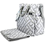 Anvy & Me Touring Signature Carry All Diaper Bag for Girls and Boys, 10 Pocket Tote with Matching Changing Pad, Parquet Ways