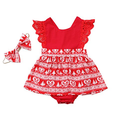 Baby Girl Christmas Outfits Newborn - Ma&Baby Christmas Toddler Newborn Kids Baby Girls Dress Clothes Romper Playsuit + Headband Outfits (6-12 Months, Red-Baby Romper)