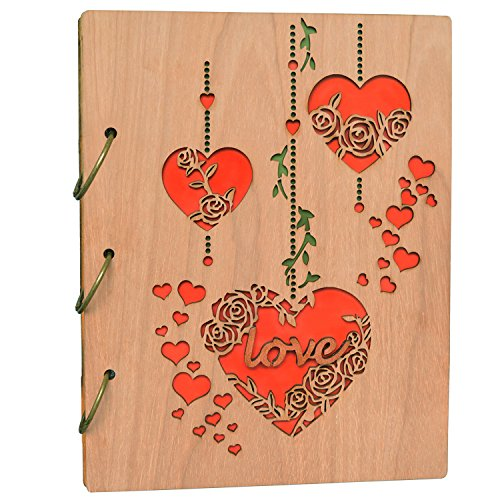 5x7 Photo Album Hollow Heart Love Wood Photo Book 120 Picture Albums (Wedding Flip Album)