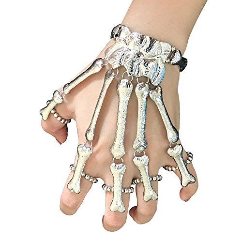 FEFE Skull Fingers Metal Skeleton Slave Bracelet Ring Gothic Halloween - Halloween Jewelry