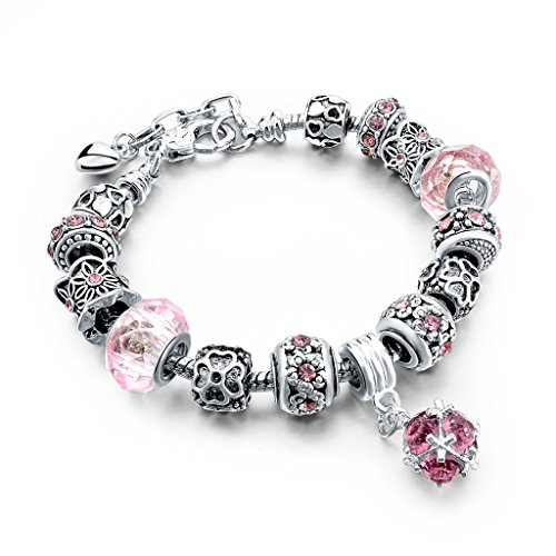 Long Way Silver Chain Pink Crystal Bead Glass Charm bracelet With Extender 7.5