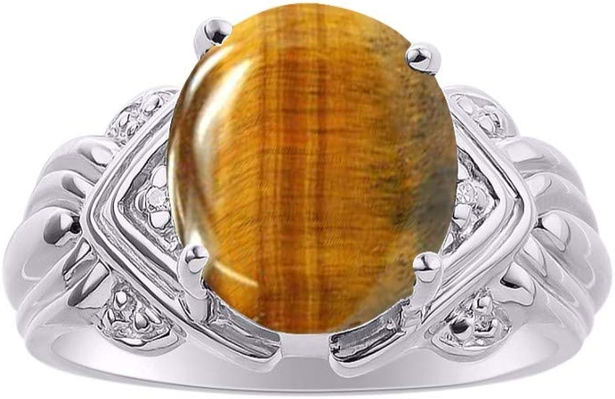 Anillo de plata de ley 925 con gema de cabujón ovalada y diamantes brillantes auténticos de RYLOS para mujer, 12 x 10 mm, gran anillo para dedo medio o puntero