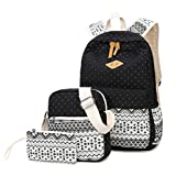 WKBY 3Pcs/Set Women Bag Backpack Girl School Shoulder Bag Rucksack Canvas Travel Bags(Black)
