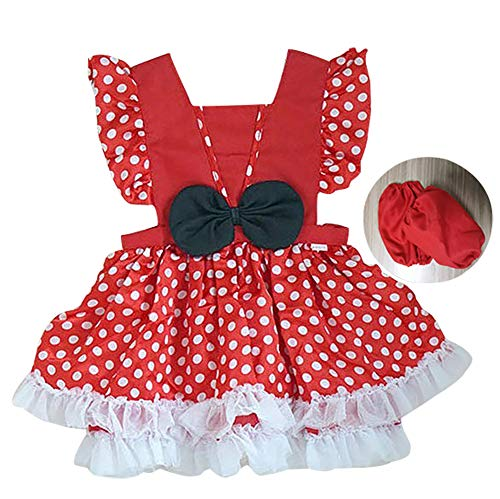 Princess Dress Up Clothes for Little Girls, Toddler Kids Snow White Sofia The First Minnie Mouse Costume Party Birthday Tulle Skirt Tutu Apron Dress(601,Red,110) -