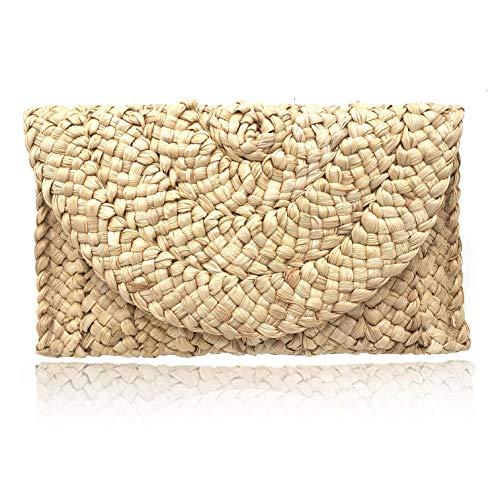 CHAOM Women Straw Clutch Handbag Straw Purse Beach Bag Envelope Bag, Beige, 10.2inch6.9inch