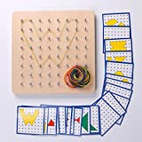 Montessori Wooden Geoboard Mathematical Manipulative Material Array Block Geo board 18pcs Pattern Card Classpack 8x8 Grid Early Development Toy