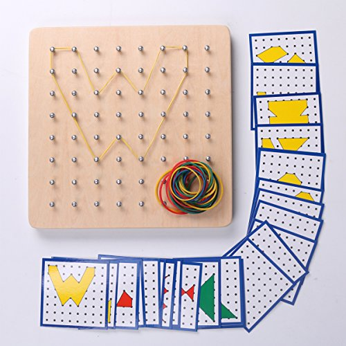 Montessori Wooden Geoboard Mathematical Manipulative Material Array Block Geo board with 24Pcs Pattern Cards and Rubber Bands Classpack 8x8 Grid Graphical Educational Toys Early Development ()