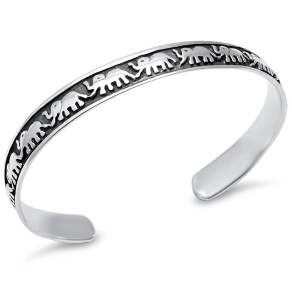 Brightt Plain Elephant Bangle .925 Sterling Silver Bracelet 8mm