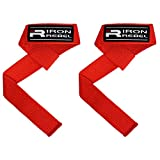 Iron Rebel Padded Lifting Straps - Neoprene Padding with Superior Cushion and Grip for Gym, Workouts, Crossfit, Powerlifting, Weightlifting   Red/Black - 21x1.5 Inches (Pair)