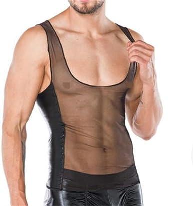 Mens See Through Fishnet Tank Vest Gym Training Fitness T-shirt Underwear Tees
