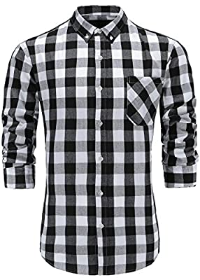 GoldCut Men's Slim Fit Long Sleeve Button-Down Plaid Dress Shirt