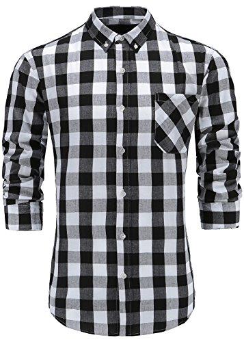 GoldCut Mens Slim Fit Long Sleeve Button-Down Plaid Dress Shirt