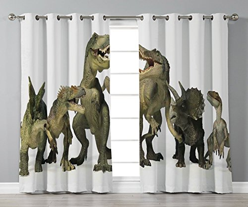 iPrint Thermal Insulated Blackout Grommet Window Curtains,Kids,Dinosaurs T Rex Jurassic 3D Dino Fossil Art Design History,2 Panel Set Window Drapes,for Living Room Bedroom Kitchen Cafe -
