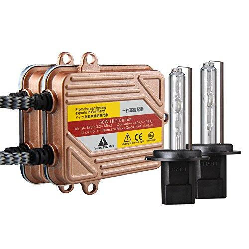 Koyoso H7 Slim Xenon HID Kit de Conversion 50W Démarrage Rapide Ballasts Fast Lumineux Ampoule de Rechange 8000K