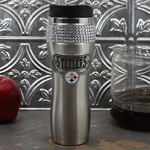 NFL Pittsburgh Steelers 16-Ounce Stainless Steel Bling Tumbler
