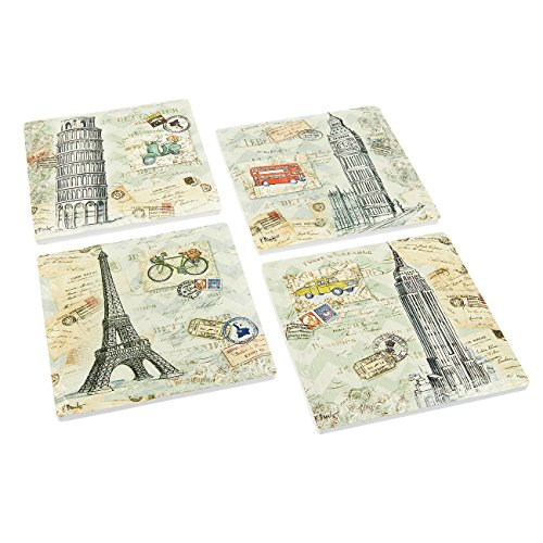 Pack of 4 Modern Coasters - Famous Building Theme - Ceramic Tile Beverage and Drink Coasters with Cork Bottoms - Fashionable Dining Decor, 4.2 x 0.2 x 4.2 Inches - Cosmopolitan Tile